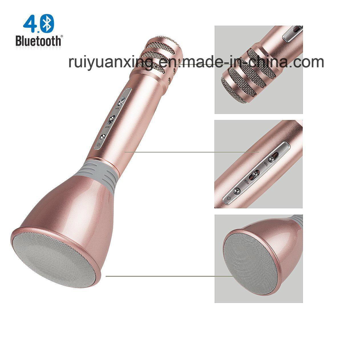 Wireless Microphones Karaoke, 3-in-1 Bluetooth Karaoke machine KTV(Rose Gold)