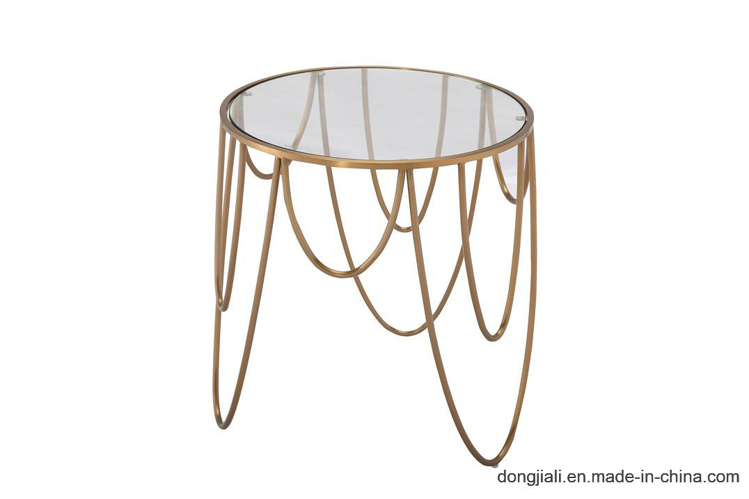 Round Tempered Glass Coffee Table with Painted Steel Frame