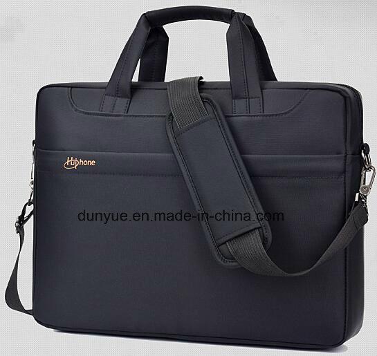 "Black Simple Design Low MOQ Promotional Nylon Laptop Messenger Bag, Multifunctional Laptop Single Shoulder Bag Fit for 15.6"" Laptop"