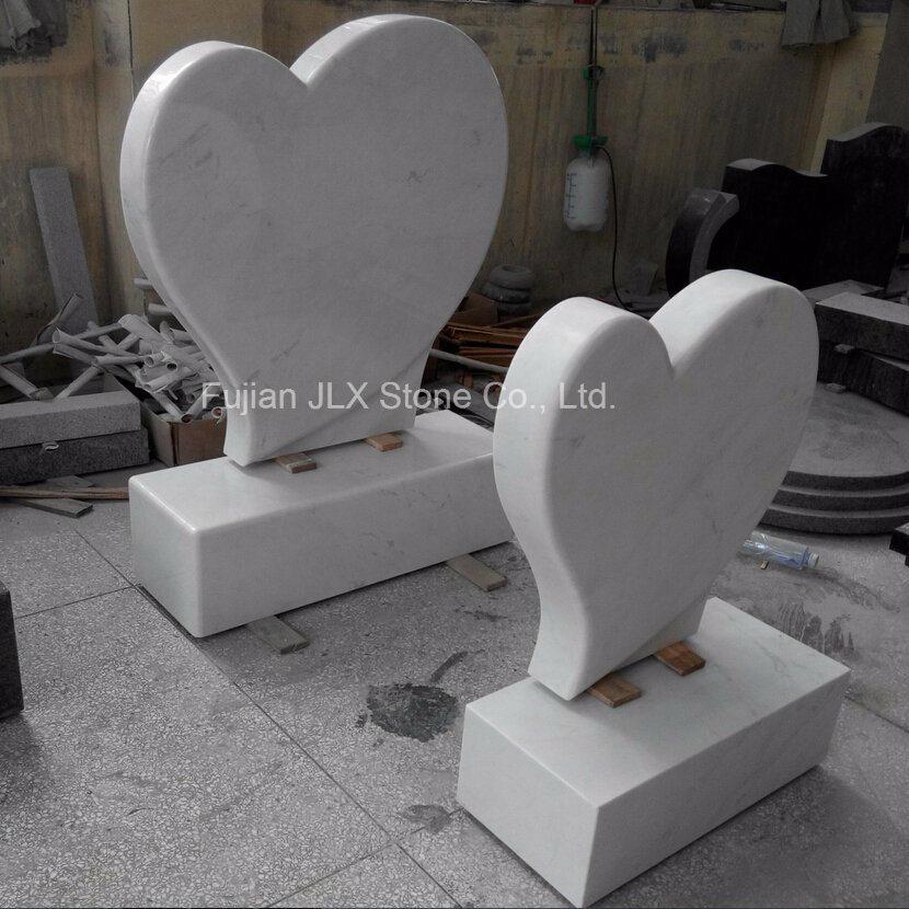 Italian Carrara White Marble Heart Shaped Gravestone