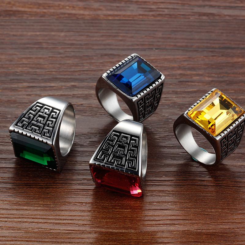 Anti Rust Engraved Titanium Stainless Steel Fashion Designer Man Rings Jewelry