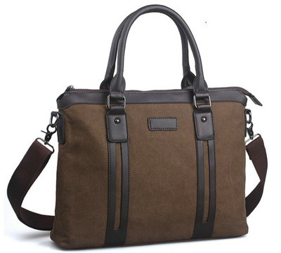 Horizontal Business Canvas Laptop Messenger Bag Briefcase Handbag