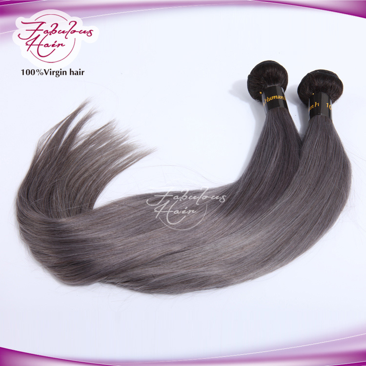 8A Grade New Arrival Straight Brazilian Gray Hair Weft
