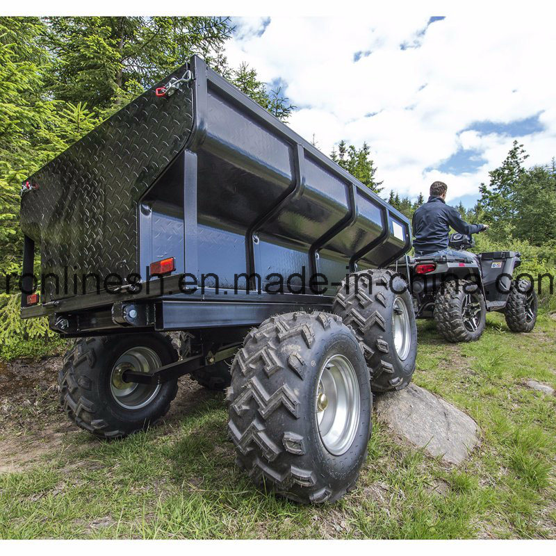 1500kgs/1.5t Load Capacity Farm Trailer/Dumper Trailer/Utility Trailer W Hydraulic Tipper/Tipping Device/Electrical Hydraulic Tipper Towed by ATV/Quad/UTV