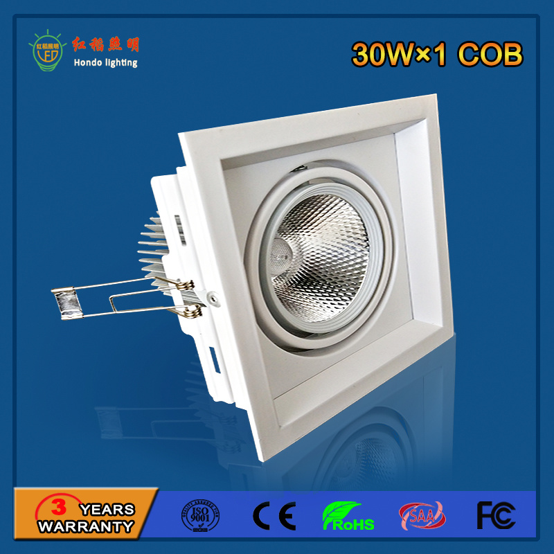 90lm/W 30W Aluminum LED Grille Light for Fashion Shop