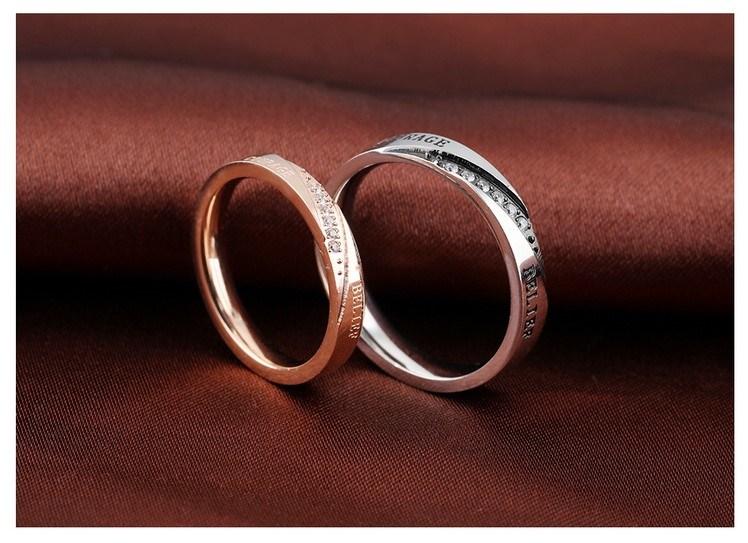 Fashion Rhinestone Crystal Men Women Lover Couple Rings Stainless Steel Jewelry