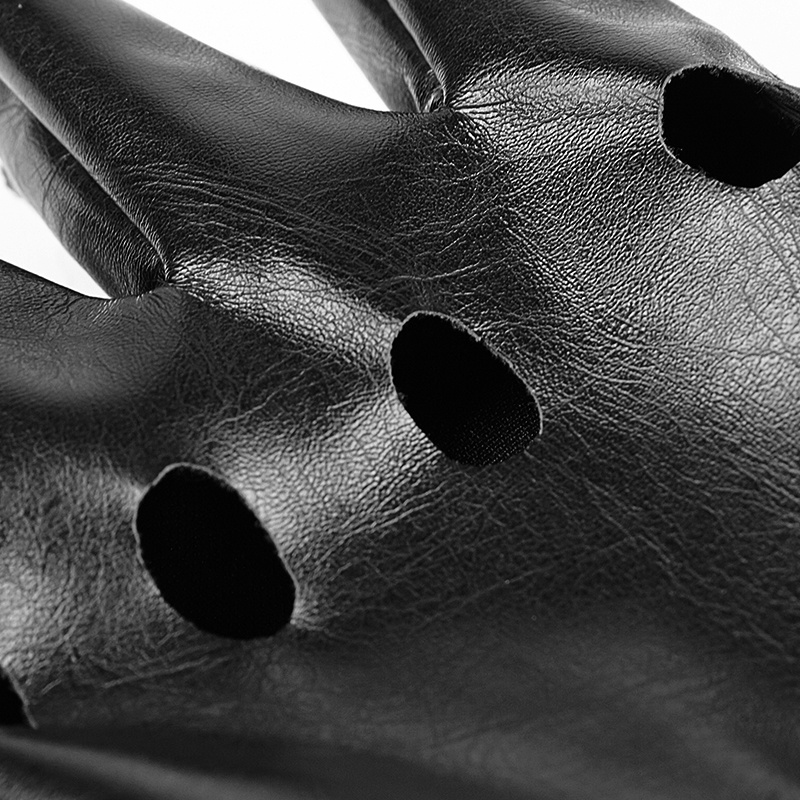 Performance Punk Black Broken Holes Gloves Short Leather Gloves (S-215)