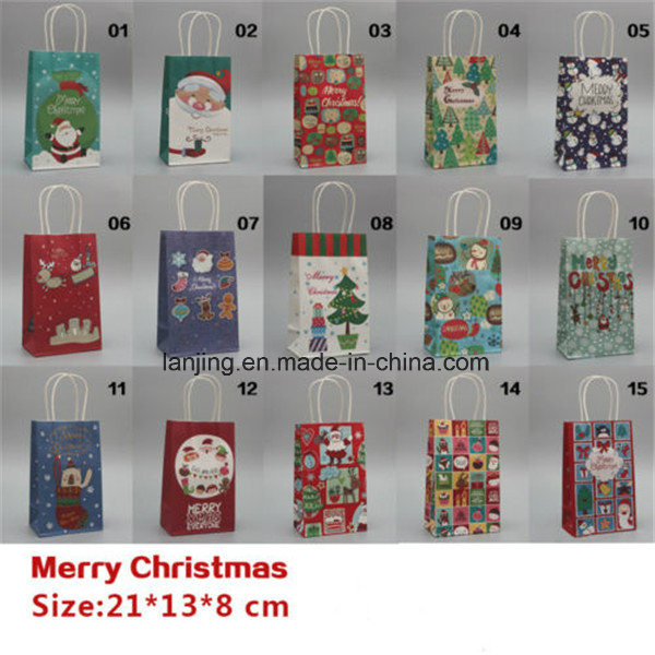 Bw213 fashion Christmas Paper Gift Bag with Handle