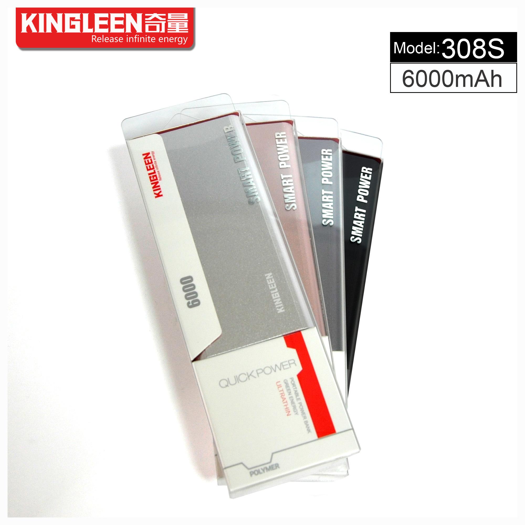 Kingleen Model C308s Power Bank 6000mAh Single USB 1A Output Factory Direct Sale