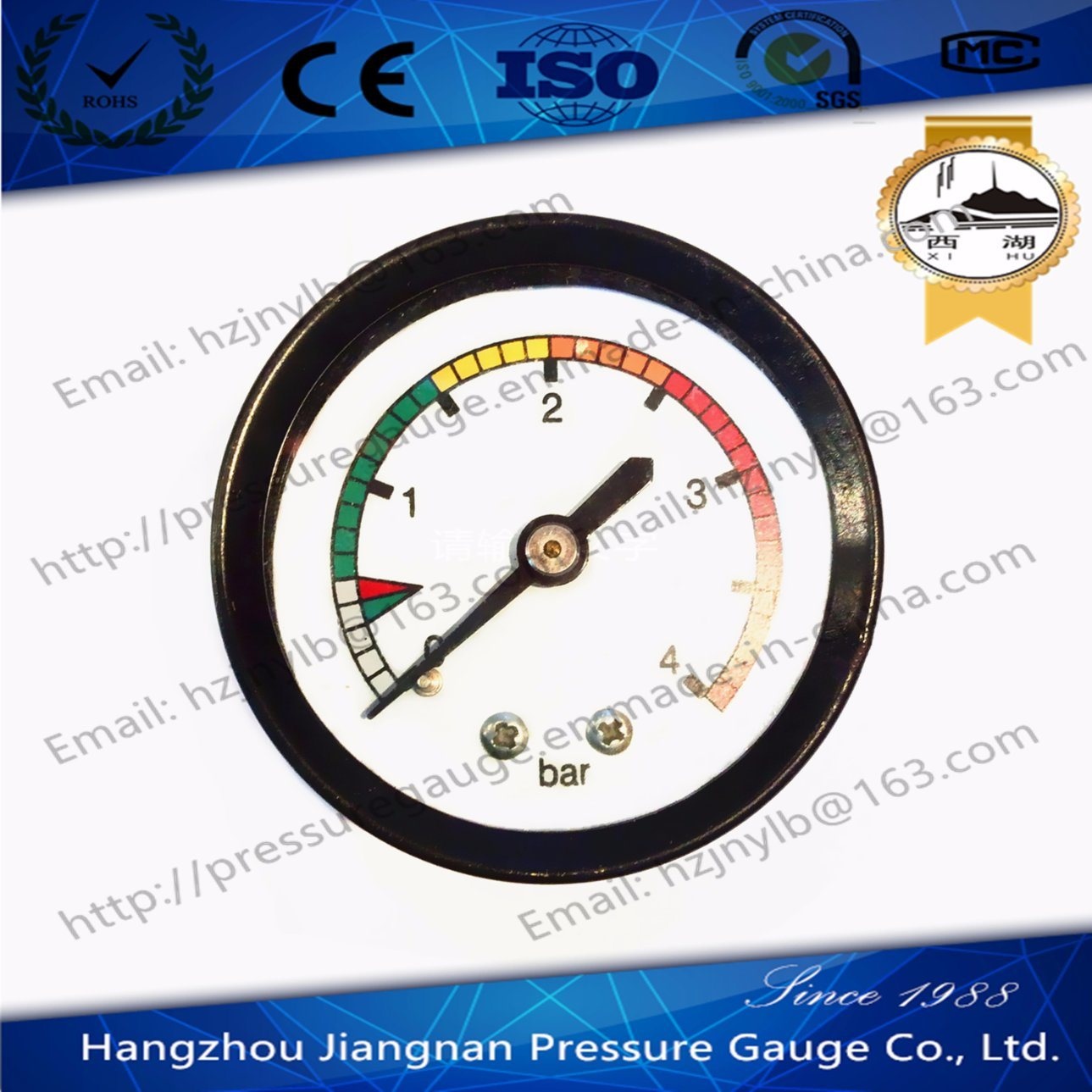 50mm 2′′ General Pressure Gauge with 4 Bar