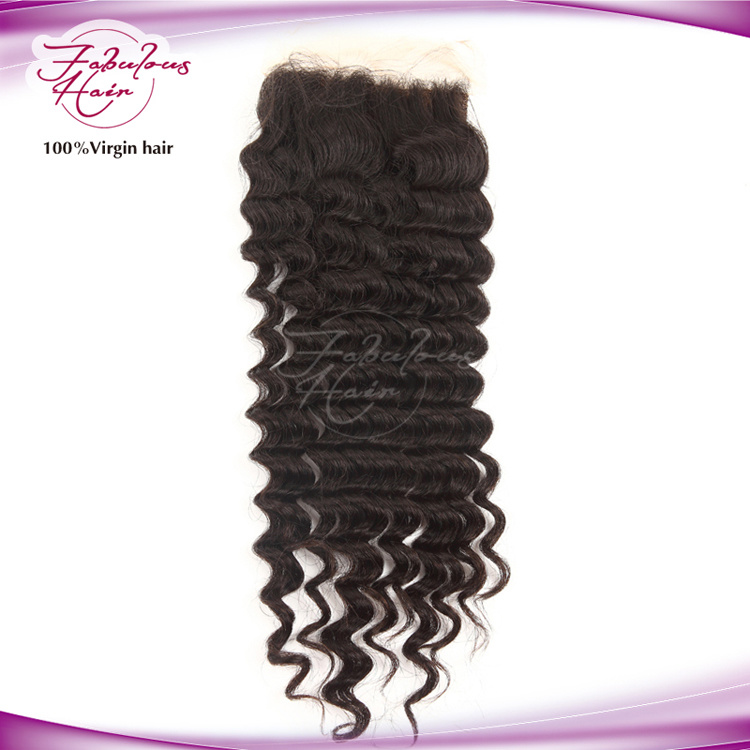 Deep Wave Free/MID/Three Part Idian Temple Hair Lace Closure