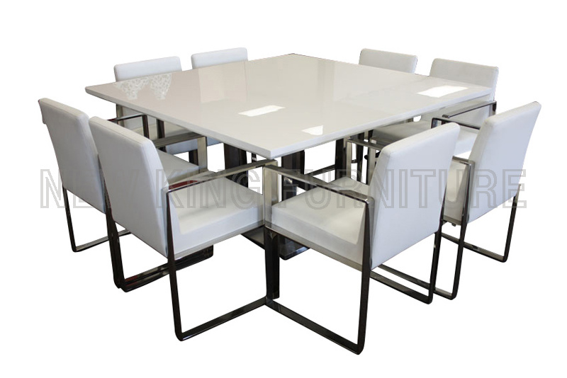 Modern Square Size Cheap White High Gloss Wooden Dining Table (NK-DT074)