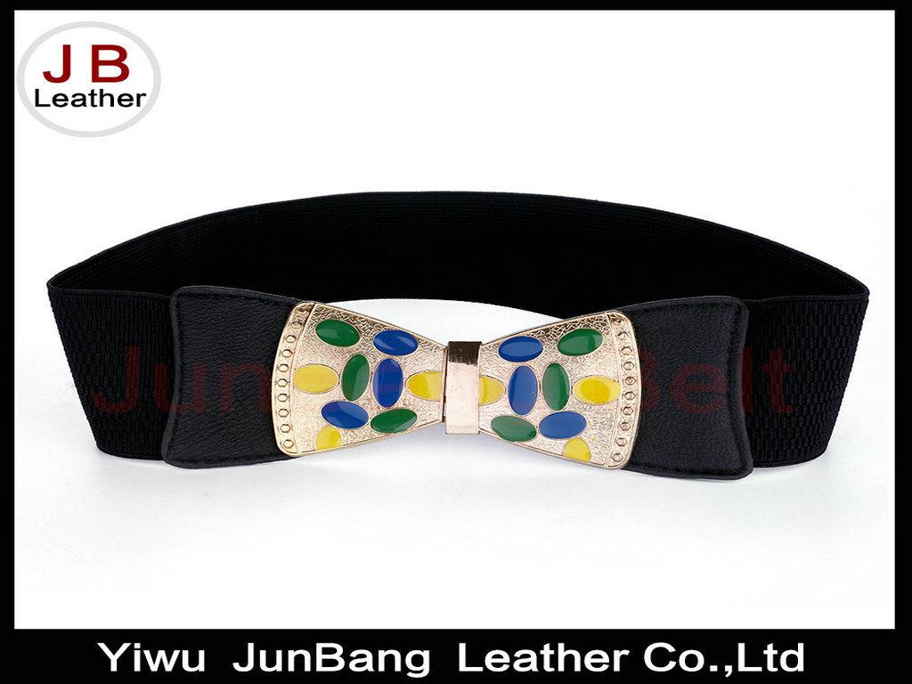 Fancy Latest New Women Wide Elastic Enamel Belt with Best Quality Buckle