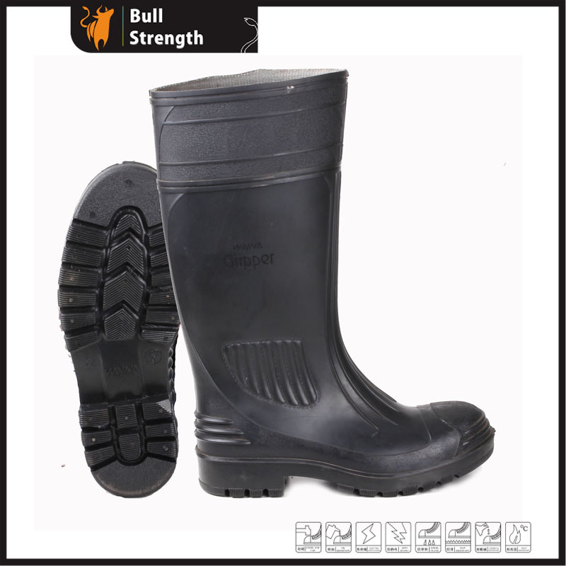 Black PVC Rain Boot with Steel Toe (SN5124)