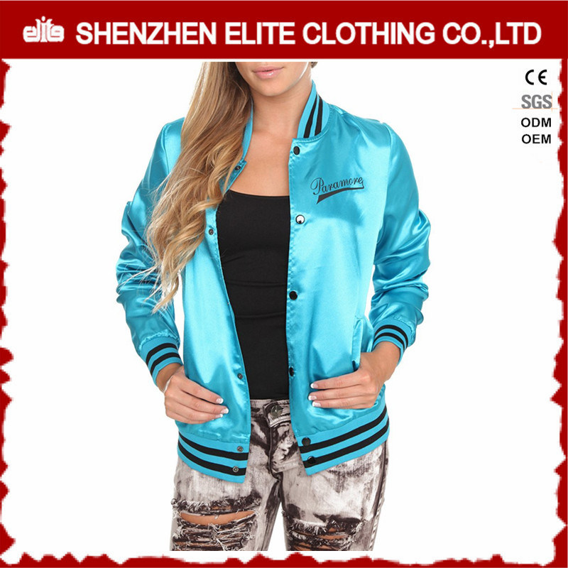 Custom 100% Polyester Satin Baseball Bomber Jacket Womens