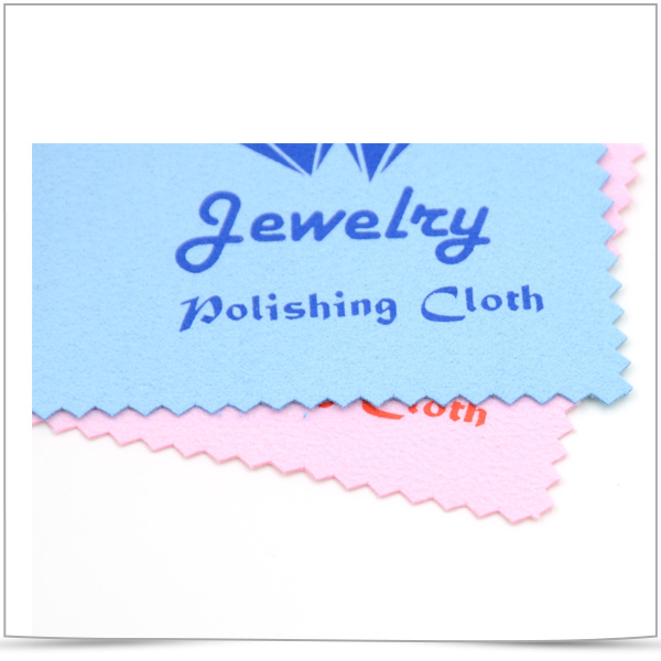 Customized Logo Offset Printed Microfiber Cleaning Cloth for Jewelry Polishing
