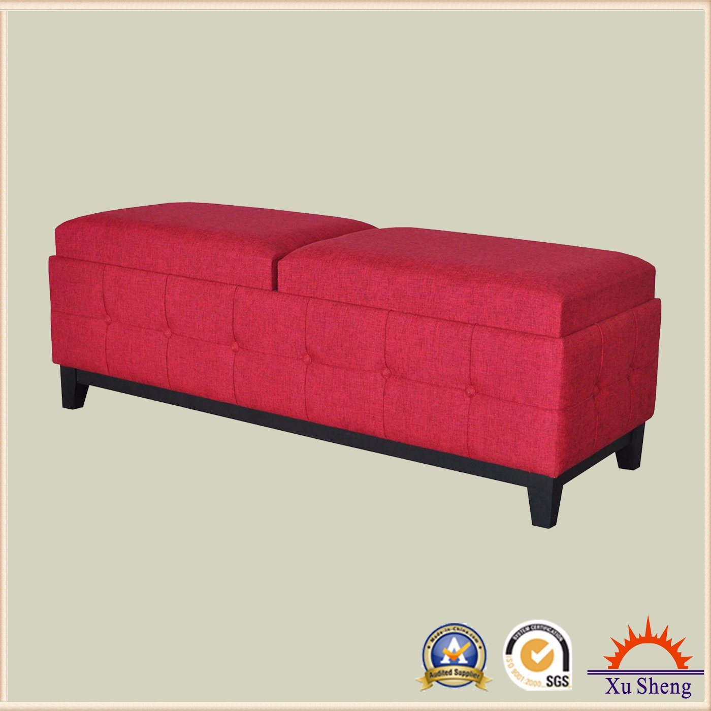 Fabric Rectangle Tufted Storage Bench Ottoman with Tray Top