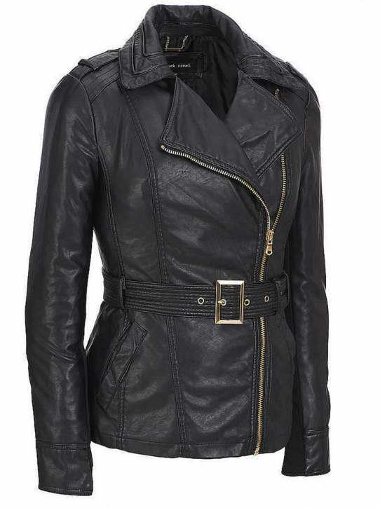 Women′s Fashion Cultivate One′s Morality PU Jacket