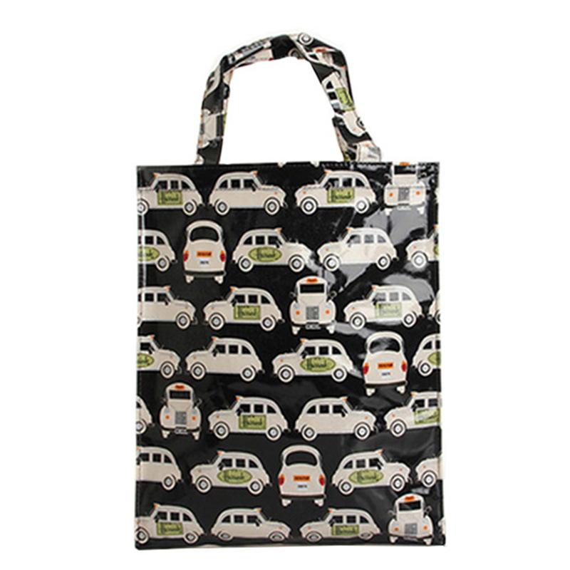 White Cars Patterns PVC Canvas Lady Handbag (A017-11)