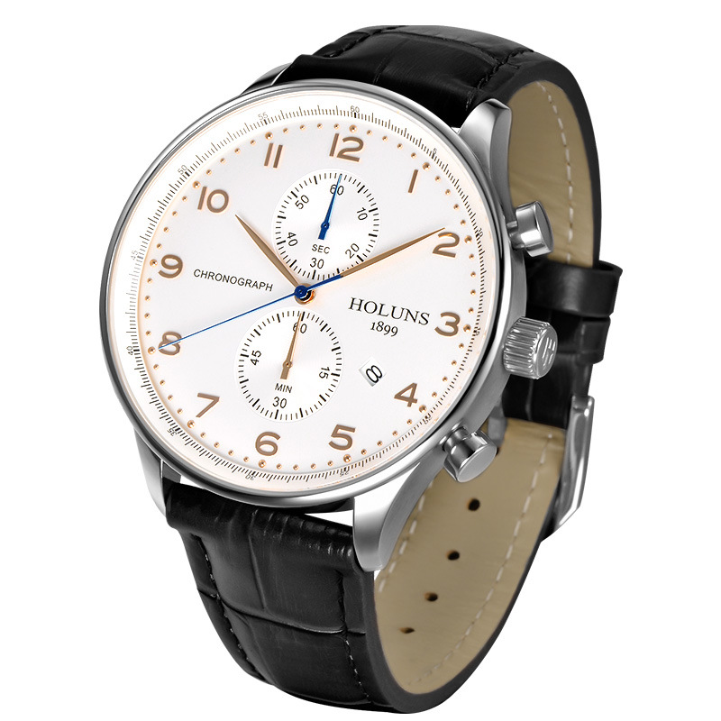 Simple Fashion Business Quartz Watch with Multifunctional Waterproof Sports Business Leather Strap Watch All Dial Working