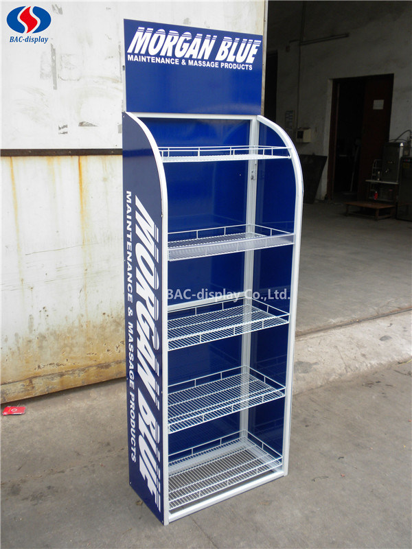 Customized Logo Metal Floor Shelf Stand Tools Exhibition Display Rack