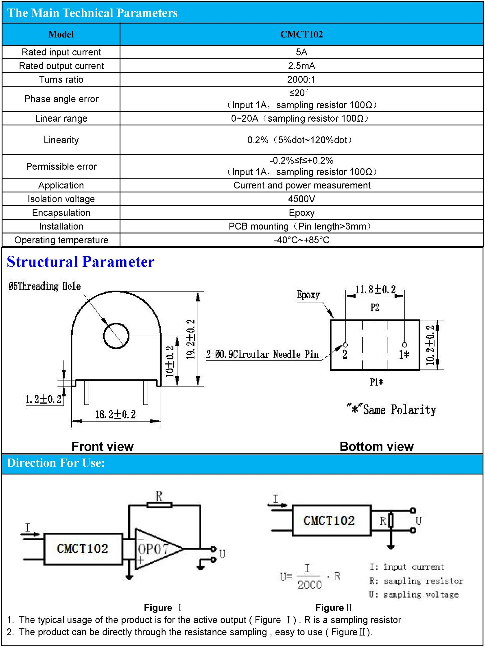 Current Transformer for Current and Power Measurement