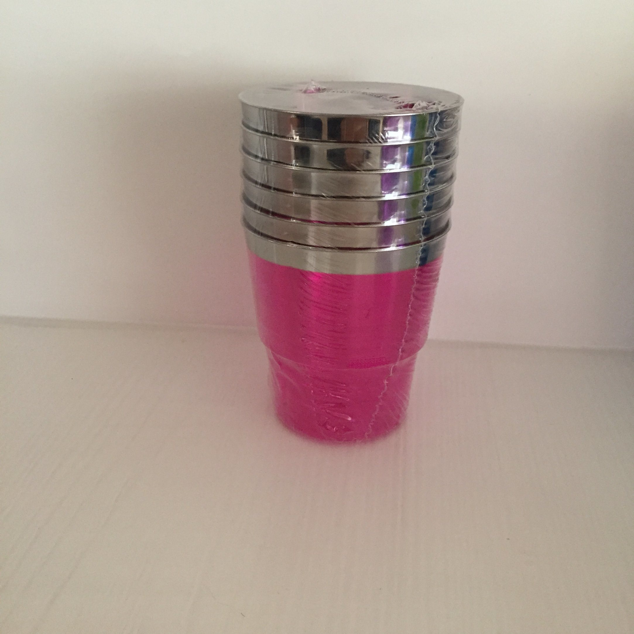 Plastic Cup, Glass, Mug, Tableware, PS, Disposable, Colorful Cup, Silver Rim