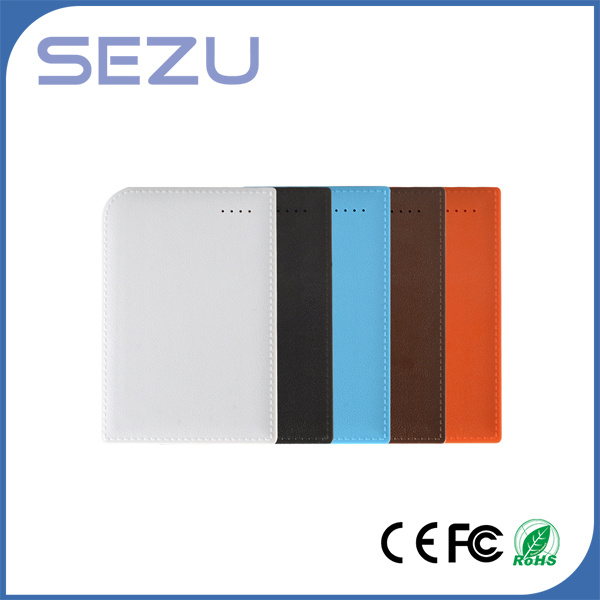 High Capacity 10000mAh White Leather Texture Notebook Power Bank with Data Cable Hot Sell!