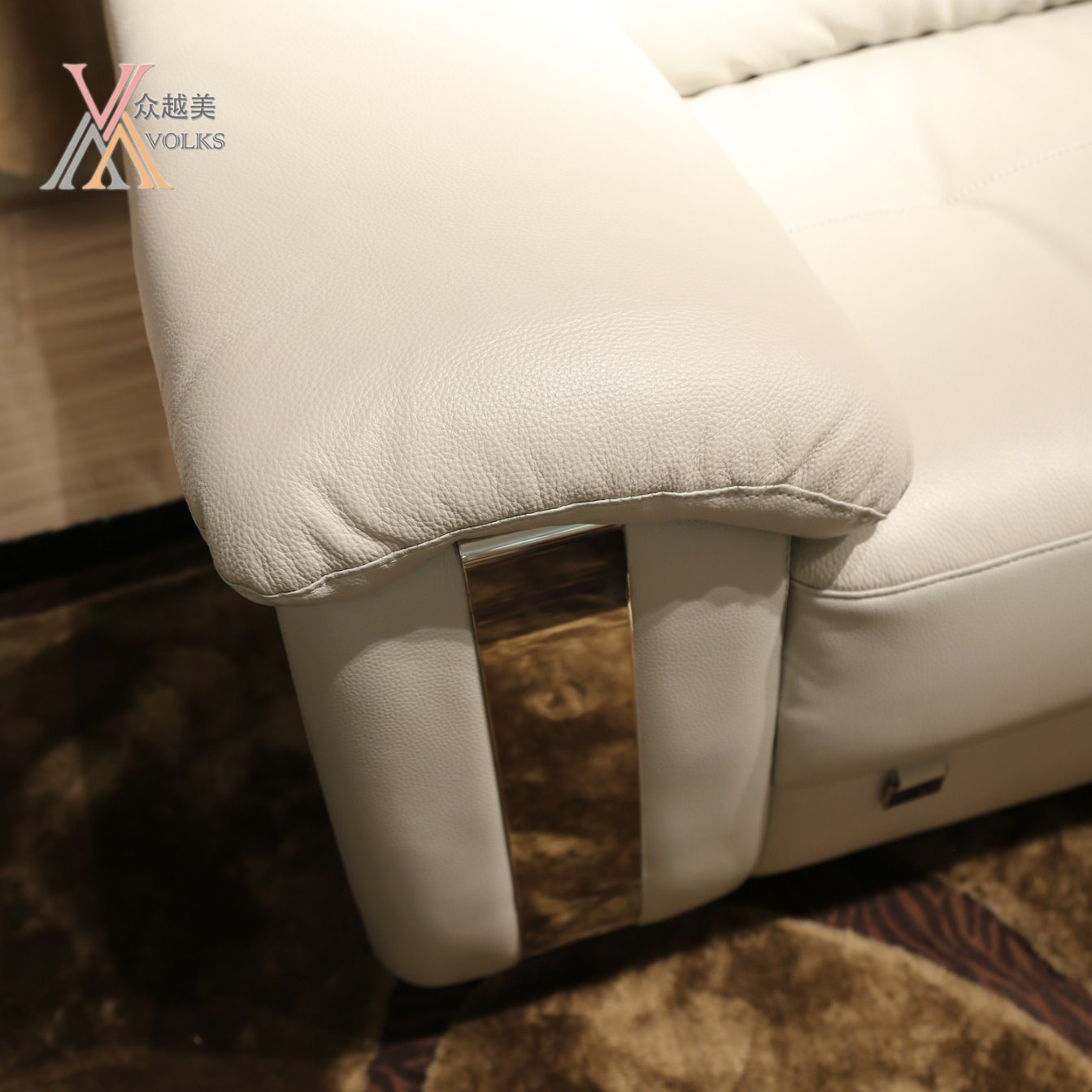 Leather Sofa with Cabinet (1616A)