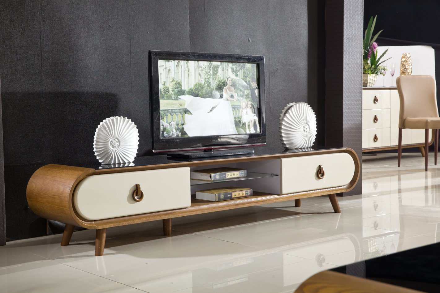 Modern Marble Top Wooden MDF TV Stand