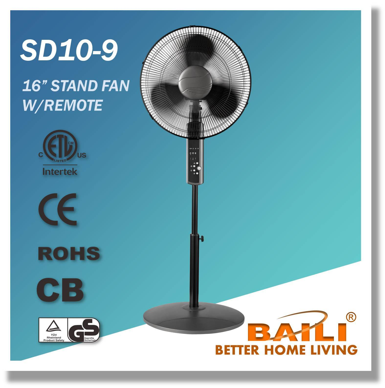 16 Inch High End Oscillating Stand Fan with Remote Control (Metallic Titanium Painting)