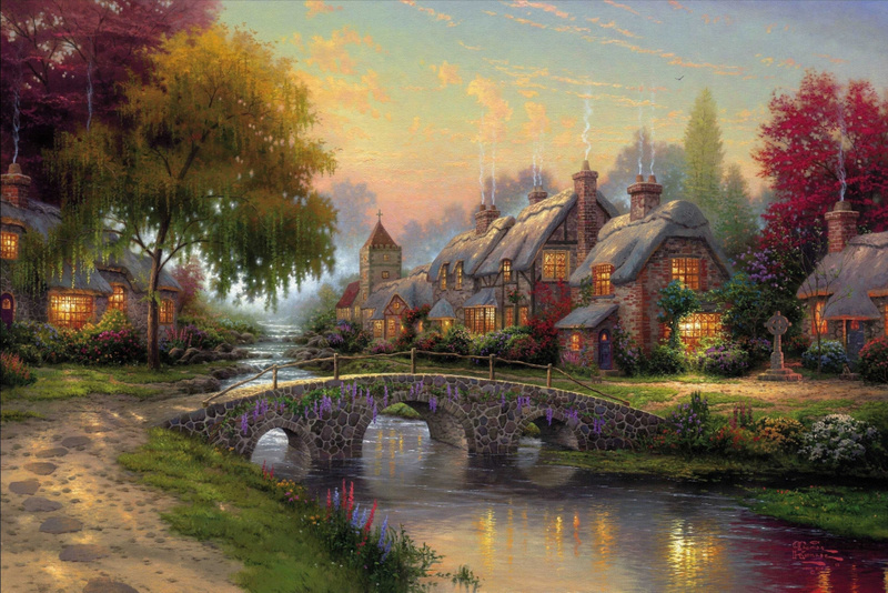 Beautiful Europe Village Scenery at Night Time Canvasoil Painting (Model No.: Hx-4-025)