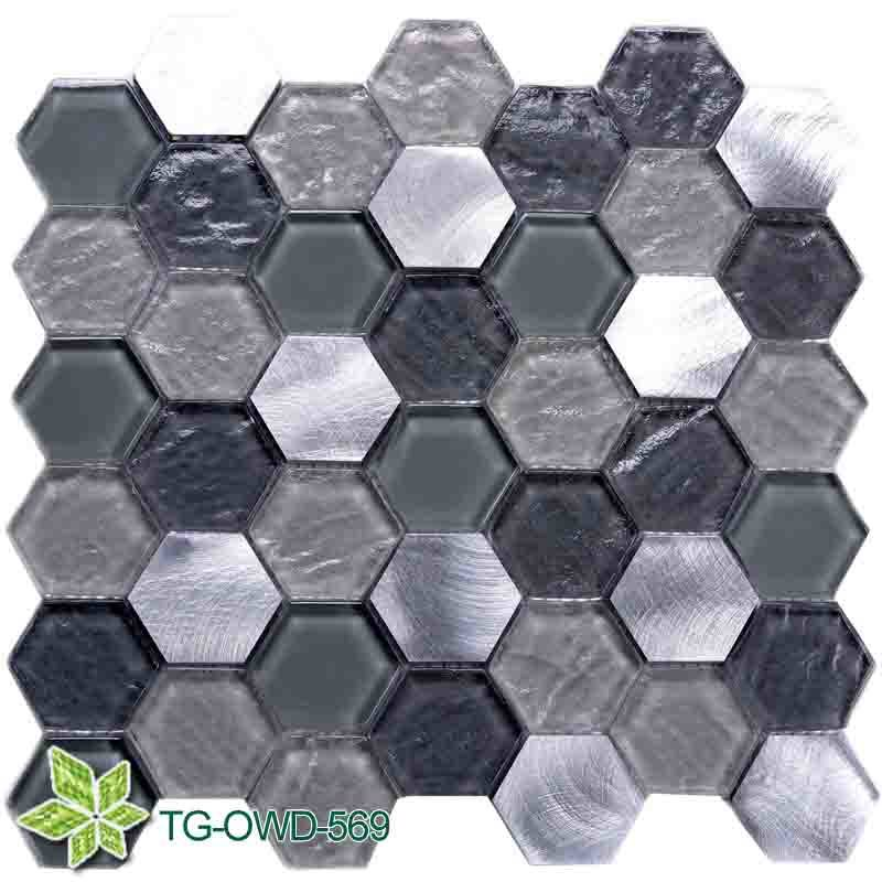 Bathroom / Kitchen Marble Mixing Glass Mosaic (TG-OWD-569)