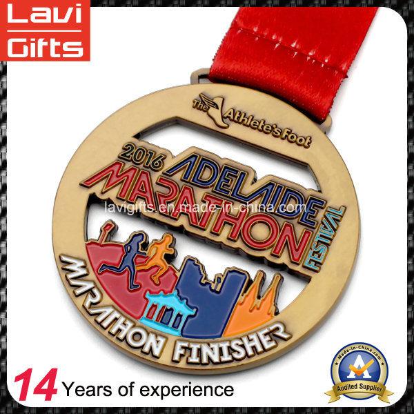 China Manufacturer Cheap Custom Zinc Alloy Enamel Marathon Running Award Metal Sport Gold Souvenir Medal No Minimum Order