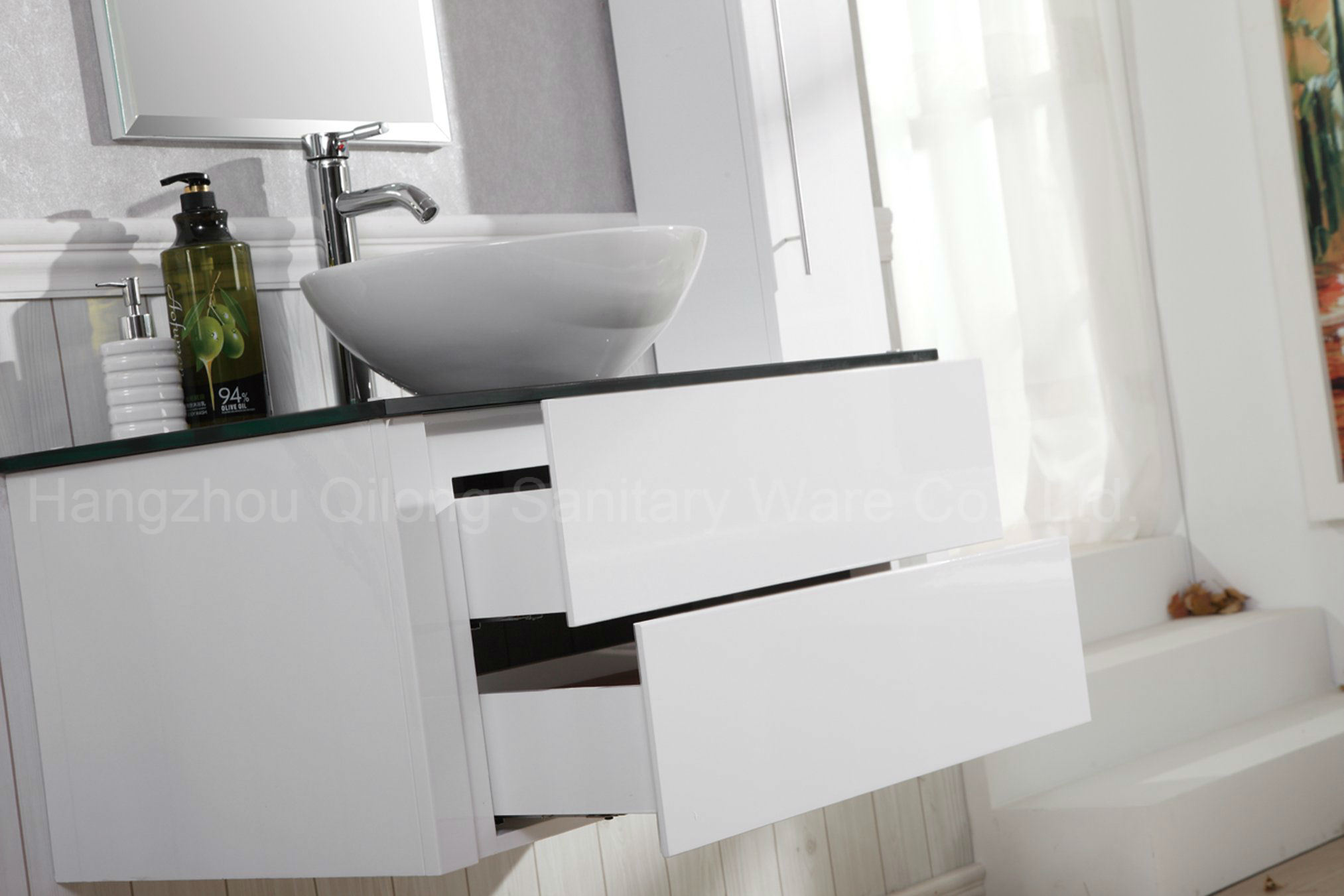 Morden MDF White Bathroom Cabinet with Side Vanity