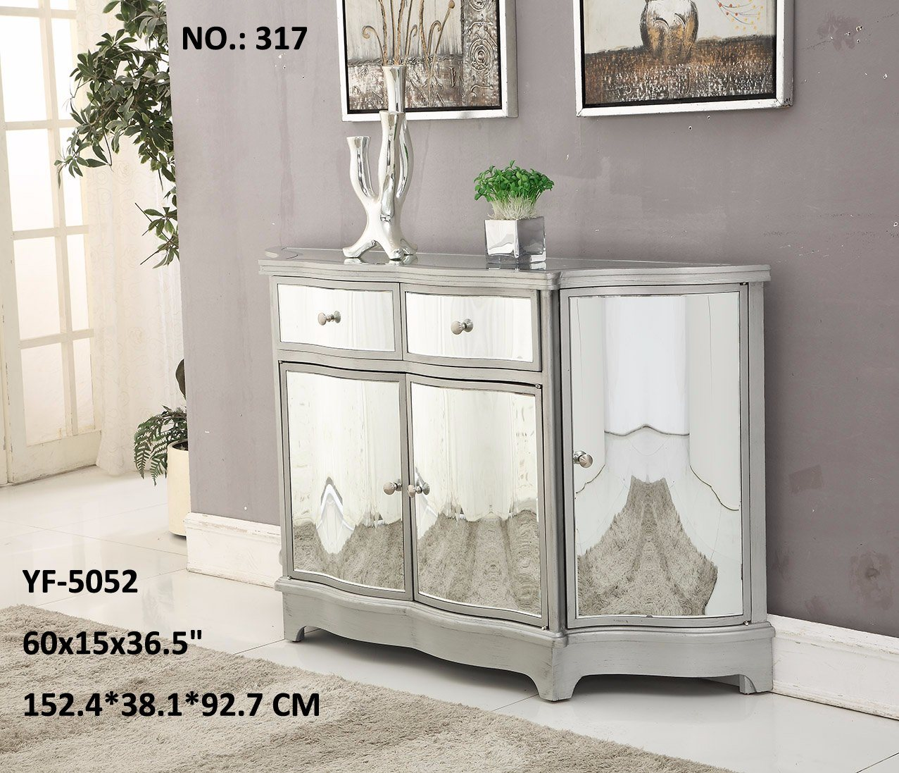 Living Room 3 Drawer Golden & Silvery Mirror Furniture
