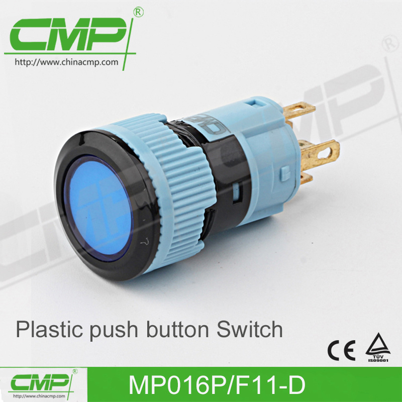 16mm Latching Plastic Switch with Ring Lamp (TUV CE ISO9001)