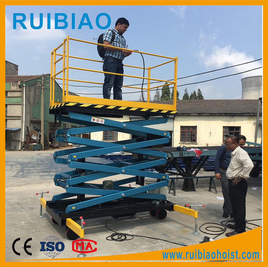 Portable Hydraulic Scissor Lift Aerial Work Lifting Platform with Solid Tyres