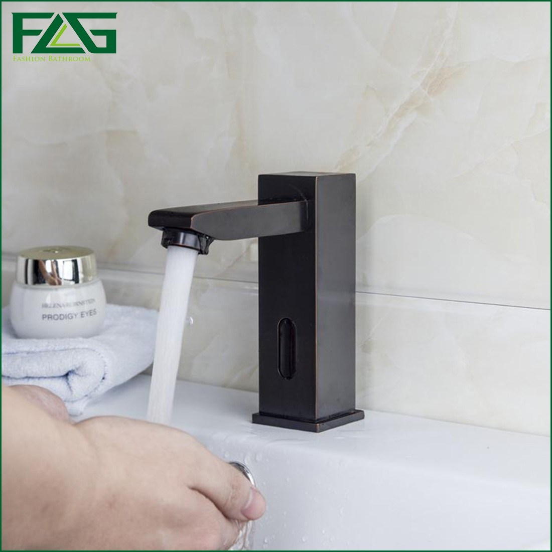 Flg Automatic Sensor Waterfall Orb Bathroom Basin Sink Mixer Faucet