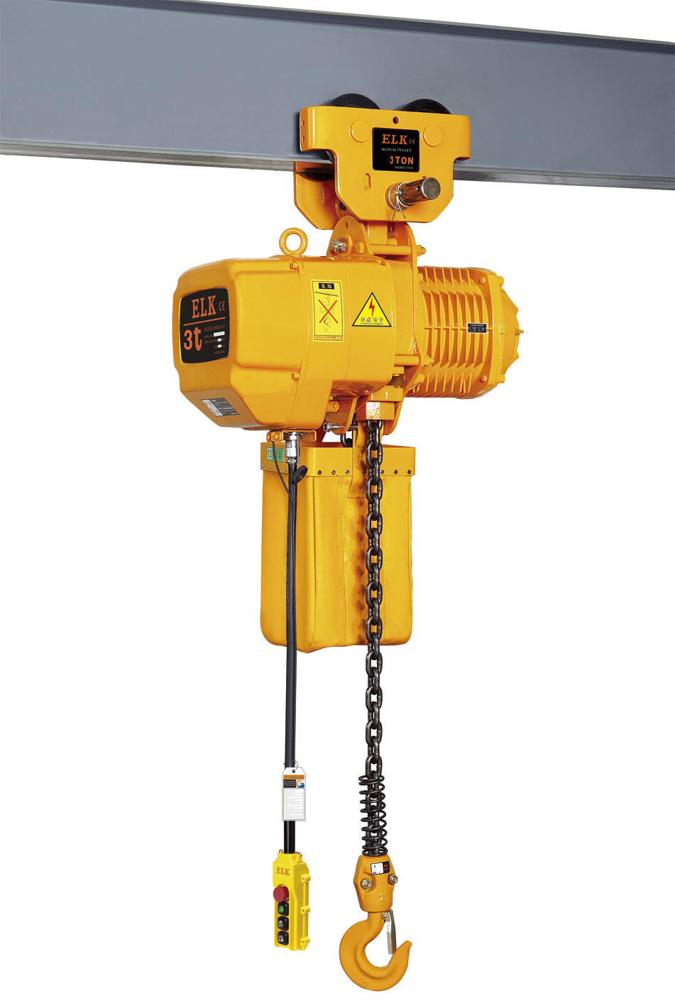 China 3 ton electric chain hoist with manual trolley for 2 ton hoist with motorized trolley