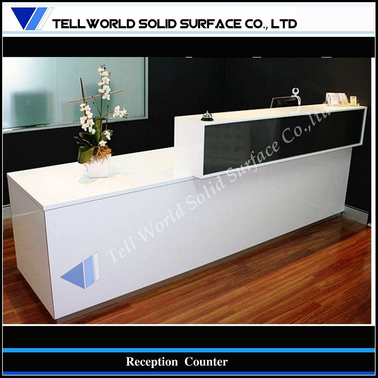 office furniture acrylic solid surface cash register reception counter