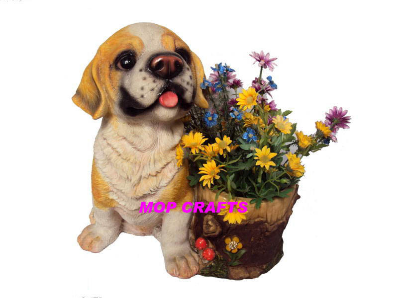 Garden Planter of Polyresin Dog Flower Pot