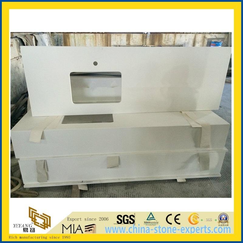 Multi-Function White/Black/Beige Polished Quartz Stone Countertop for Bathroom/Kitchen