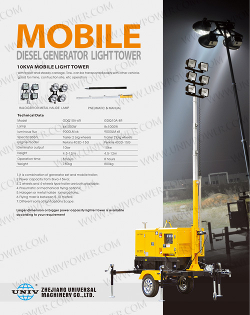 Mobile Diesel Generator Light Tower (UD8LT)