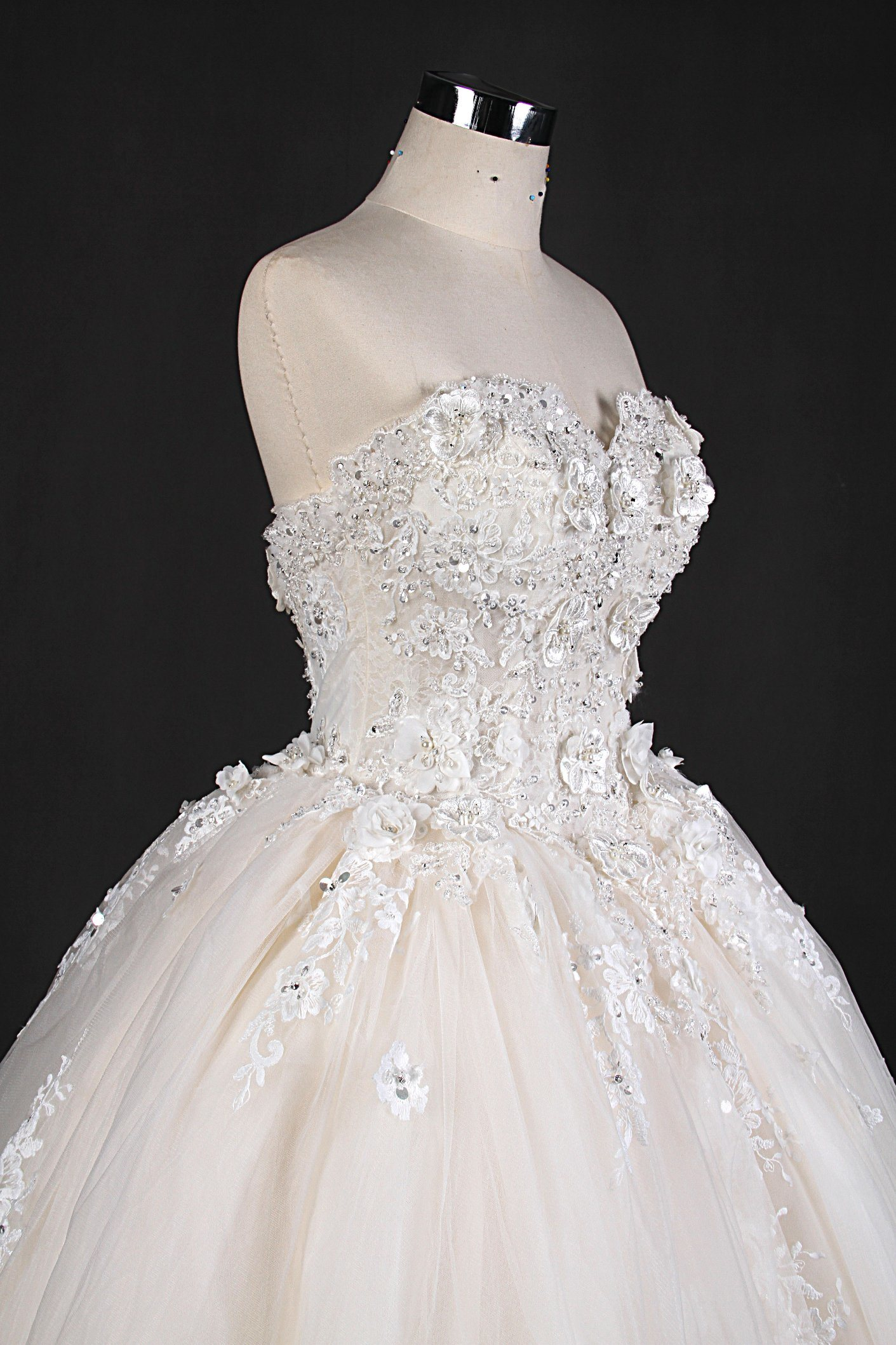 Strapless Beads Flower Lace Ball Prom Bridal Dresses Wedding Gown