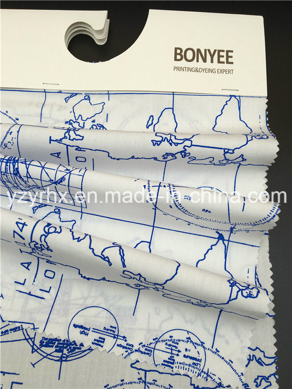 Finished Fabric 100% Cotton Poplin White Ground Printed Blue Map