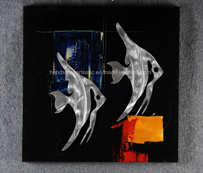 Abstract Tropical Fish Handmade Aluminum Relievo, Metal Wall Art / Decoration