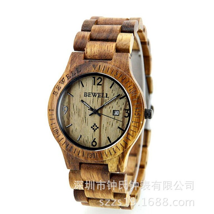 New Style Cheap Sanders Wooden Zebra Wood Quartz Watch (HL-CD003)
