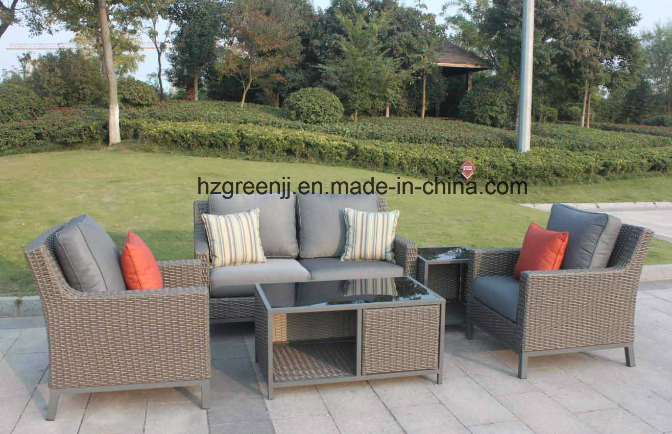 Patio Furniturte Large Sofa Set 0047 with 10mm Half Moon Curve Flat Wicker