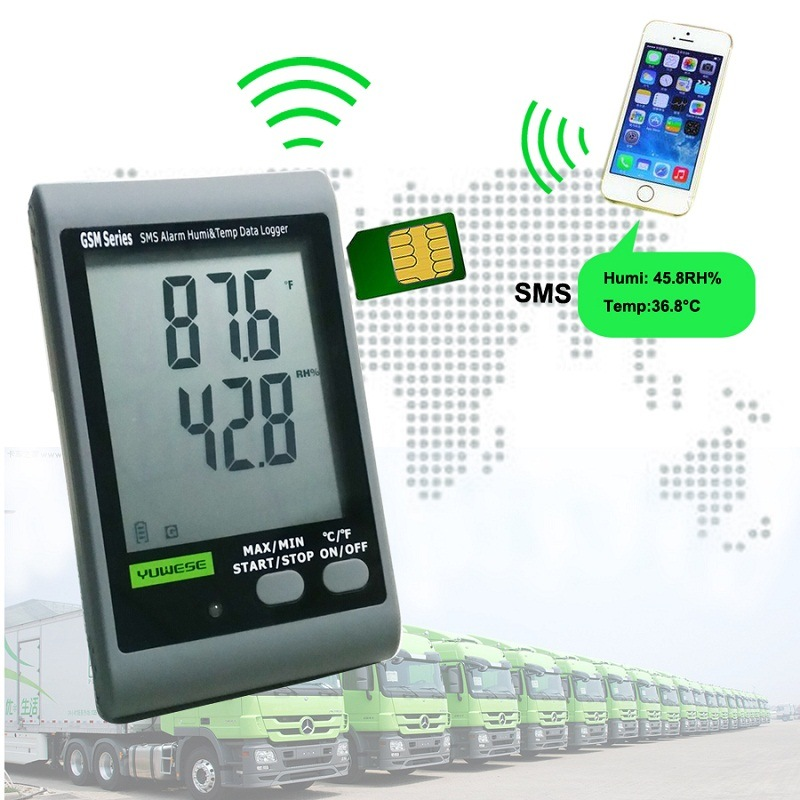 GSM SMS Alarm Temperature Humidity Thermometer with LCD Display
